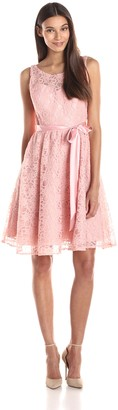 Marina Women's Short Sleeve Lace Full Skirt Dress with Illusion Bodice and Sash
