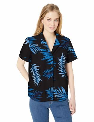 28 Palms Amazon Brand Women's Oversized 100% Cotton Aloha Blouse Hawaiian Shirt