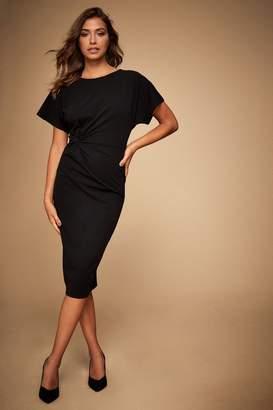 Lipsy Petite Knot Front Midi Dress - 10 - Black