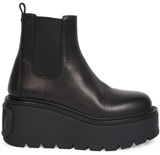 Valentino Uniqueform Lug-Sole Leather Platform Chelsea Boots