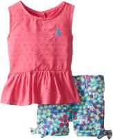 U.S. Polo Assn. Baby Girls' Swiss Dot Peplum Top and Twill Shorts, Pink