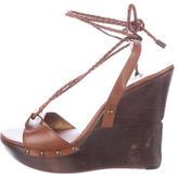 Diane von Furstenberg Leather Lace-Up Wedge Sandals