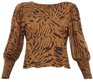 Ganni Smocked-cuff Tiger-print Crepe Blouse - Womens - Brown Multi