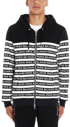Balmain Logo Stripe Detail Zipper Sweatshirt