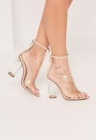 Missguided Nude Perspex Peep Toe Heeled Ankle Boots