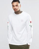 Huf Long Sleeve T-shirt With Rose Sleeve Print