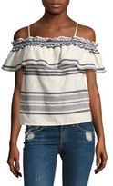 Splendid Striped Ruffle Off-the-shoulder Top