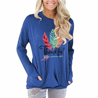 DAMAIW Women's Fashion Printed Casual Round Neck Printed Loose Undershirt Long Sleeve Blouse Pullover Top with Pockets Long-Sleeved T-Shirt Tunic Blue