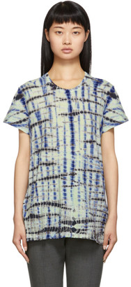 Proenza Schouler Green and Blue Tie-Dye Short Sleeve T-Shirt
