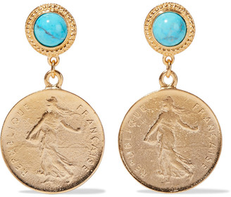 Ben-Amun 24-karat Gold-plated Turquoise Earrings