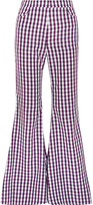 House of Holland Gingham Poplin Flared Pants - Purple