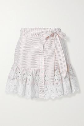 Miguelina Emy Embroidered Polka-dot Cotton-poplin Mini Skirt - White