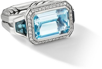 David Yurman Novella Sterling Silver, Diamond & Mixed Topaz 3-Stone Ring