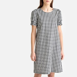 La Redoute Collections Cotton Gingham Print Puff-Sleeve Dress with Tie-Back