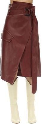 Petar Petrov Wrapped Leather Midi Skirt
