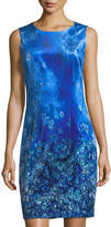 T Tahari Dakota Floral-Print Velvet Sheath Dress