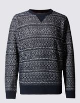 Marks and Spencer Reverse Fairisle Jumper with Wool
