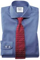 Extra Slim Fit Cutaway Non-iron Puppytooth Royal Blue Cotton Formal Shirt Double Cuff Size 15.5/33