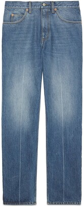 Gucci Regular fit marble washed denim trousers