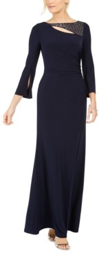 Vince Camuto Petite Embellished Keyhole Gown