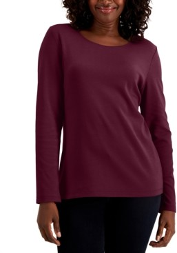 Karen Scott Cotton Long-Sleeve T-Shirt, Regular & Petite Sizes, Created for Macy's