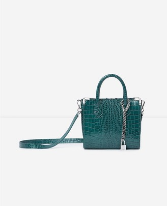 The Kooples Ming medium green croc-print bag in leather