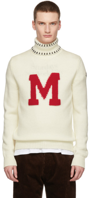 Moncler Genius White Graphic Maglione Turtleneck