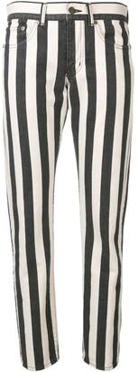 Saint Laurent Striped Ankle Grazer Jeans