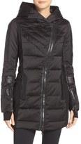 Blanc Noir Women's Asymmetrical Water Resistant Down Jacket With Leather Trim