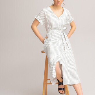 La Redoute Collections Striped Midi Dress with Ruffled Short Sleeves