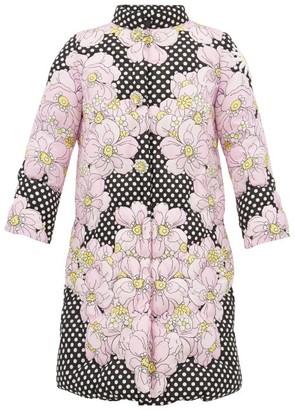 0 Moncler Genius Richard Quinn - Floral-print Matelasse Down-filled Coat - Black Multi