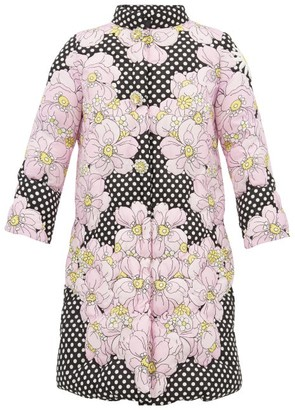 Moncler 0 Genius Richard Quinn - Floral-print Matelasse Down-filled Coat - Womens - Black Multi