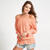 Apricot Coral Gypsy Shirred Bardot Top