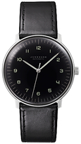 Junghans 027/3400.00 Max Bill Automatic Stainless Steel Leather Strap Watch, Black