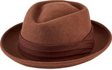 San Diego Hat Company Men's Wool Felt Pork Pie with Grosgrain Trim SDH9444
