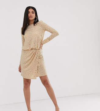 Flounce London Tall wrap front mini dress with statement shoulder in gold sequin