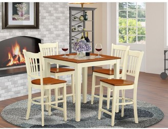 East West Furniture Cream Rubberwood 5-piece Counter Height Pub Dining Set