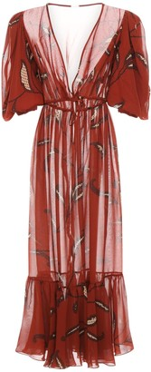 Johanna Ortiz Printed Double Georgette Kimono Dress