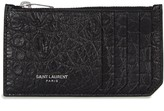 Saint Laurent Black Crocodile-effect Leather Card Holder