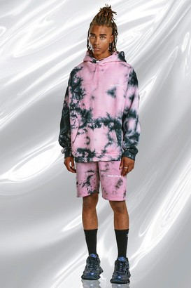 boohoo Mens Pink Tie Dye Hoodie And Short Set With Print, Pink