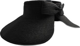 Accessoryo Women Summer Sun Visor Large Wide Brim Straw Beach Sun Packable Roll Up Black Hat Outdoor Sports Holiday Cap