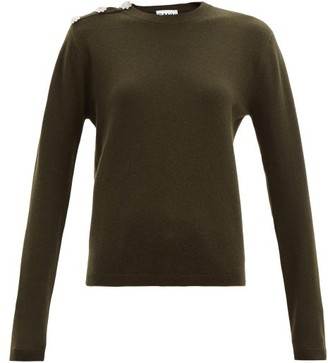 Ganni Floral-crystal Buttons Cashmere Sweater - Khaki