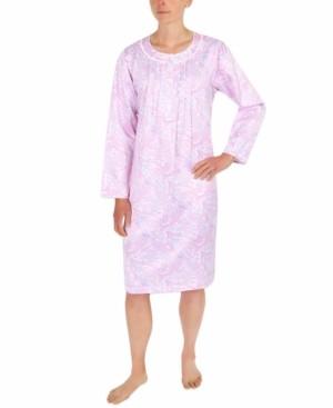 Miss Elaine Petite Brushed-Back Satin Printed Nightgown