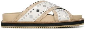 Twin-Set Stud-Embellished Crossover Slides