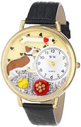 Whimsical Watches Corgi Black Skin Leather and Goldtone Unisex Quartz Watch with White Dial Analogue Display and Multicolour Leather Strap G-0130029
