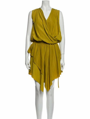 Lanvin V-Neck Midi Length Dress Yellow