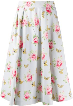 Prada Roses Print Faille Skirt