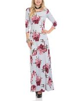 Celeste Gray Floral Maxi Dress