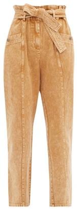 Sea Idun Paperbag-waist Acid-washed Cotton Jeans - Beige