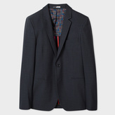 Paul Smith Men's Slim-Fit Dark Grey Muted-Check Cotton And Wool-Blend Blazer